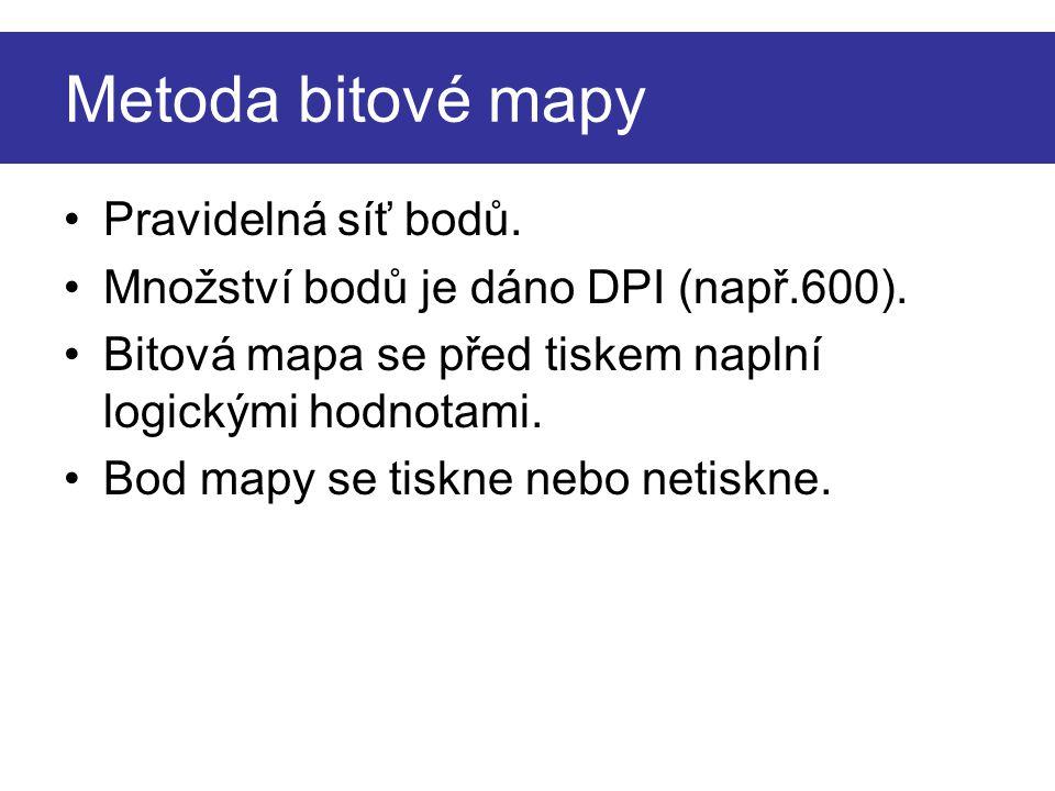 Metoda bitové mapy Pravidelná síť bodů. Množství bodů je dáno DPI (např.600).