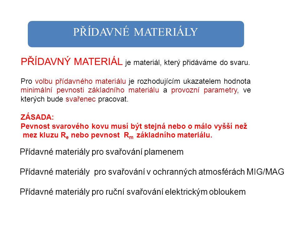 PŘÍDAVNÉ MATERIÁLY PŘÍDAVNÝ MATERIÁL je materiál, který přidáváme do svaru. Pro volbu přídavného materiálu je rozhodujícím ukazatelem hodnota minimáln