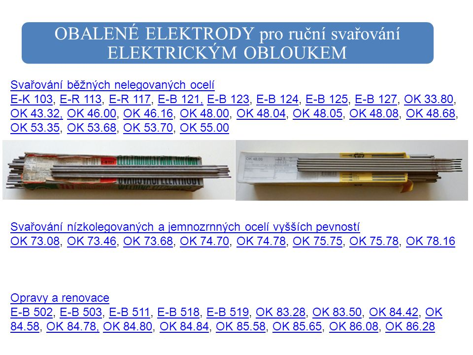 OBALENÉ ELEKTRODY pro ruční svařování ELEKTRICKÝM OBLOUKEM Svařování běžných nelegovaných ocelí E-K 103Svařování běžných nelegovaných ocelí E-K 103, E
