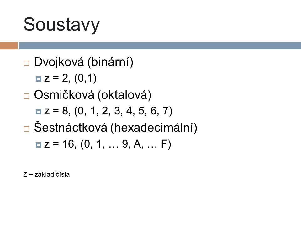 Soustavy  Dvojková (binární)  z = 2, (0,1)  Osmičková (oktalová)  z = 8, (0, 1, 2, 3, 4, 5, 6, 7)  Šestnáctková (hexadecimální)  z = 16, (0, 1,