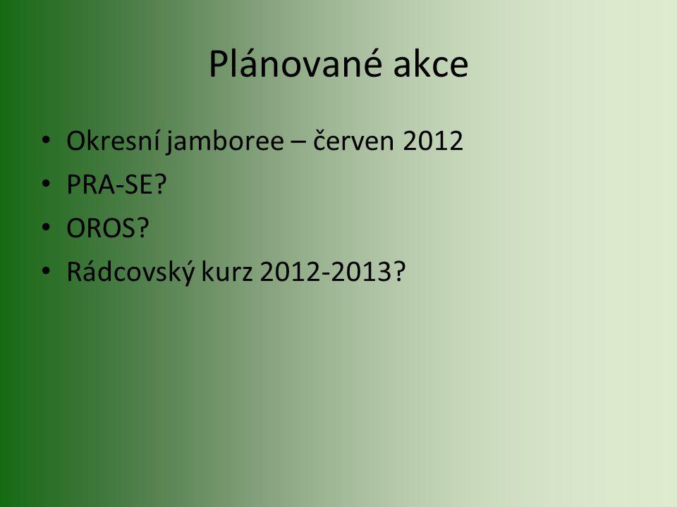 Plánované akce Okresní jamboree – červen 2012 PRA-SE? OROS? Rádcovský kurz 2012-2013?
