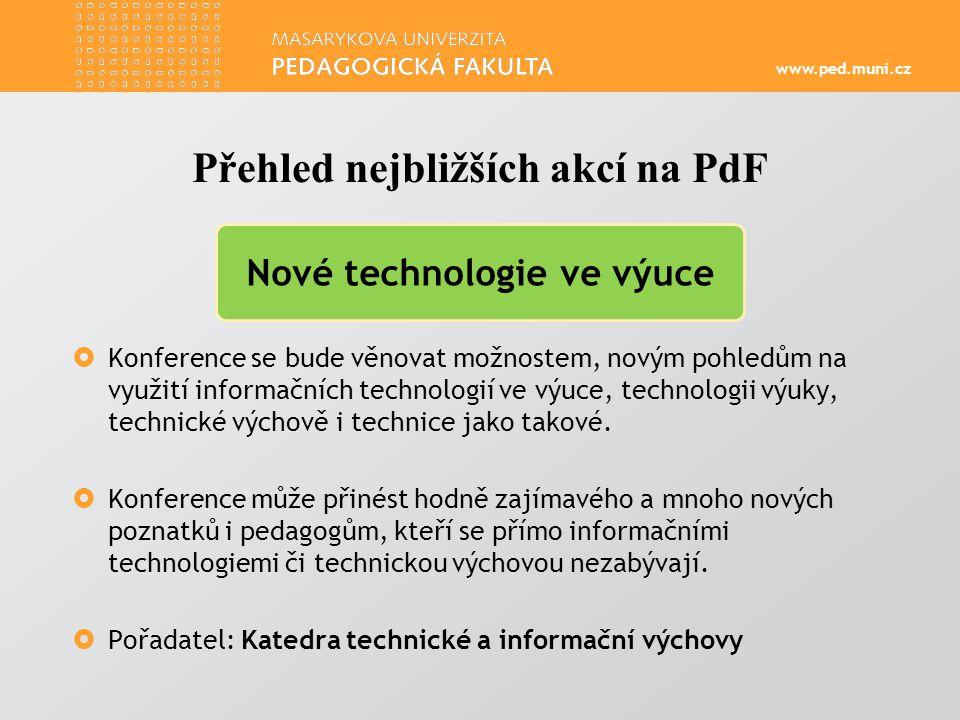 www.ped.muni.cz  Konference se bude věnovat možnostem, novým pohledům na využití informačních technologií ve výuce, technologii výuky, technické výchově i technice jako takové.