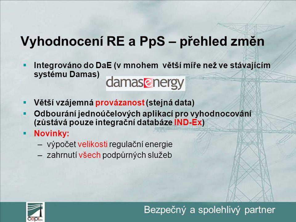 Bezpečný a spolehlivý partner Vyhodnocení RE a PpS – přehled změn  Integrováno do DaE (v mnohem větší míře než ve stávajícím systému Damas)  Větší vzájemná provázanost (stejná data)  Odbourání jednoúčelových aplikací pro vyhodnocování (zůstává pouze integrační databáze IND-Ex)  Novinky: –výpočet velikosti regulační energie –zahrnutí všech podpůrných služeb
