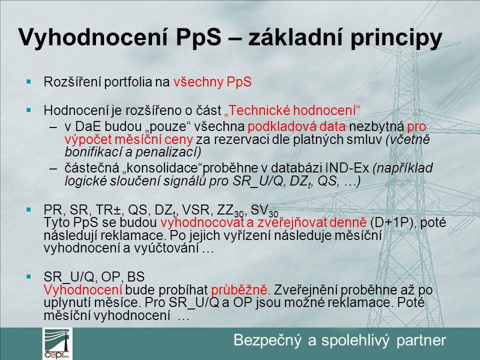 """Bezpečný a spolehlivý partner Vyhodnocení PpS – základní principy  Rozšíření portfolia na všechny PpS  Hodnocení je rozšířeno o část """"Technické hodnocení –v DaE budou """"pouze všechna podkladová data nezbytná pro výpočet měsíční ceny za rezervaci dle platných smluv (včetně bonifikací a penalizací) –částečná """"konsolidace proběhne v databázi IND-Ex (například logické sloučení signálů pro SR_U/Q, DZ t, QS, …)  PR, SR, TR±, QS, DZ t, VSR, ZZ 30, SV 30 Tyto PpS se budou vyhodnocovat a zveřejňovat denně (D+1P), poté následují reklamace."""