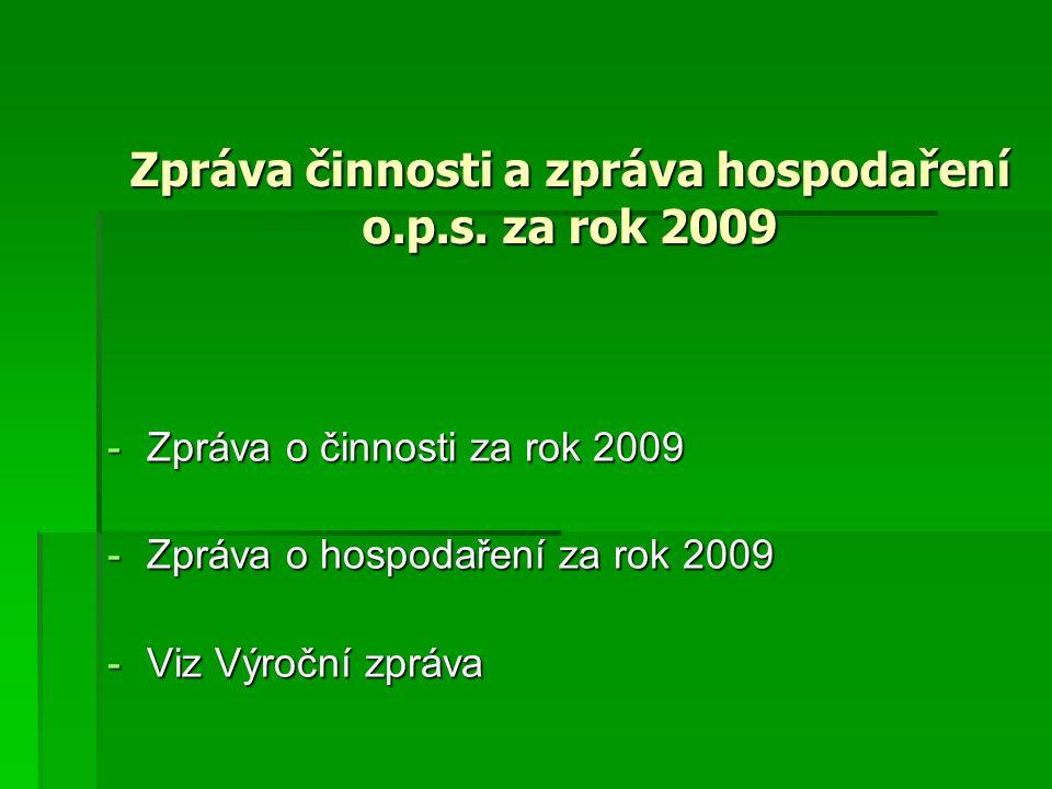Zpráva činnosti a zpráva hospodaření o.p.s.