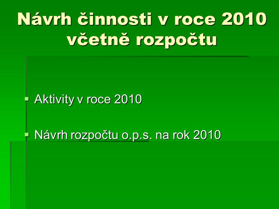 Návrh činnosti v roce 2010 včetně rozpočtu  Aktivity v roce 2010  Návrh rozpočtu o.p.s.