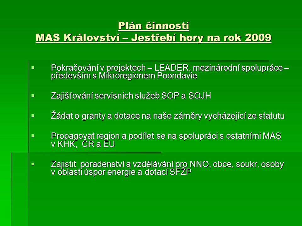Plán činností MAS Království – Jestřebí hory na rok 2009  Pokračování v projektech – LEADER, mezinárodní spolupráce – především s Mikroregionem Poondavie  Zajišťování servisních služeb SOP a SOJH  Žádat o granty a dotace na naše záměry vycházející ze statutu  Propagovat region a podílet se na spolupráci s ostatními MAS v KHK, ČR a EU  Zajistit poradenství a vzdělávání pro NNO, obce, soukr.
