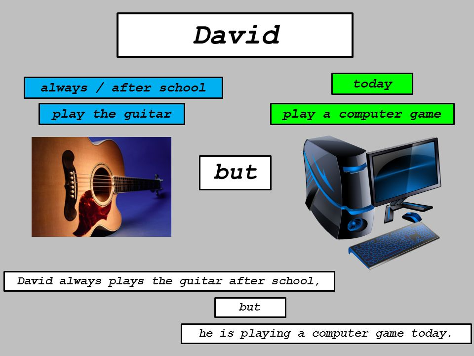 but David always / after school today play the guitarplay a computer game David always plays the guitar after school, but he is playing a computer gam