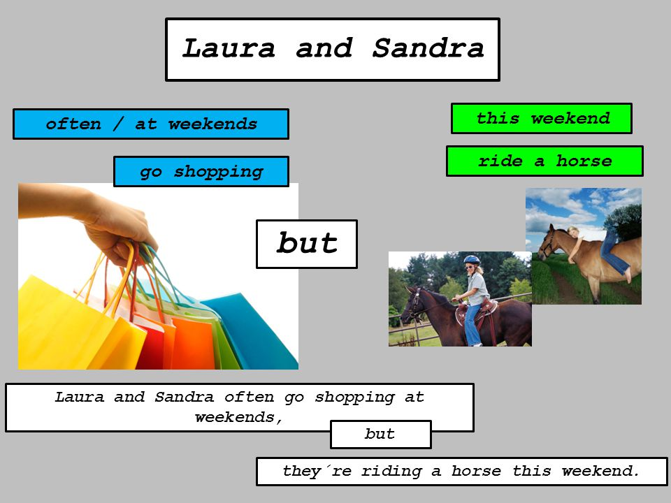 but Laura and Sandra often / at weekends this weekend go shopping ride a horse Laura and Sandra often go shopping at weekends, but they´re riding a ho