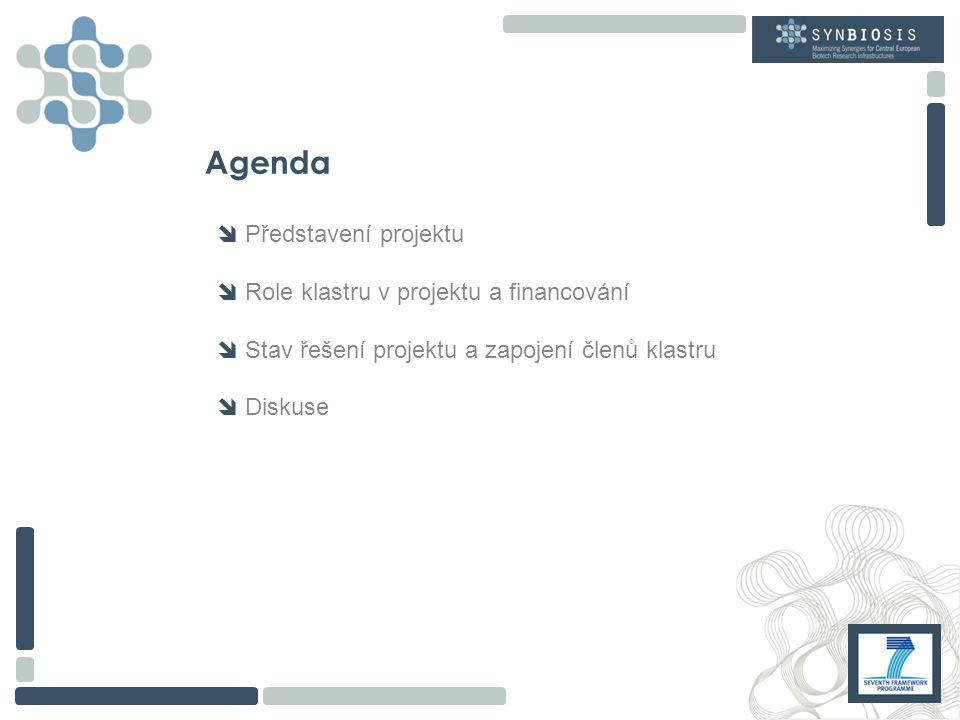 Agenda  Představení projektu  Role klastru v projektu a financování  Stav řešení projektu a zapojení členů klastru  Diskuse