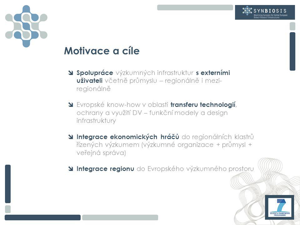 Motivace a cíle  Spolupráce výzkumných infrastruktur s externími uživateli včetně průmyslu – regionálně i mezi- regionálně  Evropské know-how v oblasti transferu technologií, ochrany a využití DV – funkční modely a design infrastruktury  Integrace ekonomických hráčů do regionálních klastrů řízených výzkumem (výzkumné organizace + průmysl + veřejná správa)  Integrace regionu do Evropského výzkumného prostoru