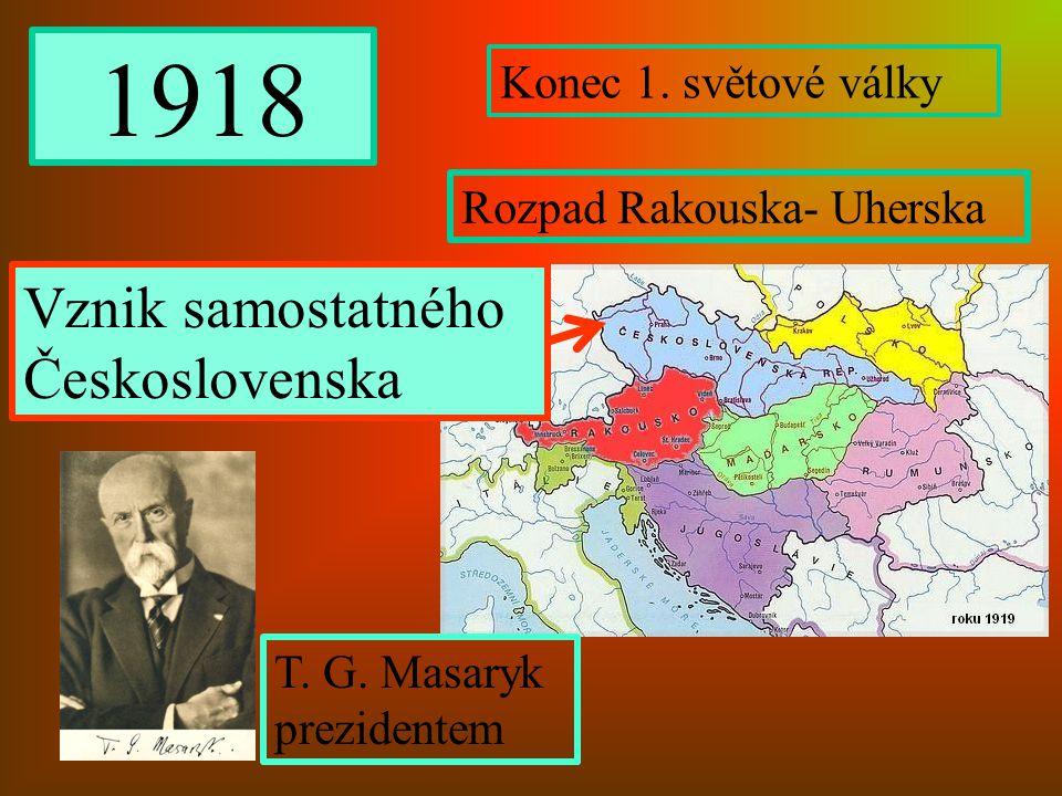 1918 Konec 1. světové války Rozpad Rakouska- Uherska Vznik samostatného Československa T. G. Masaryk prezidentem