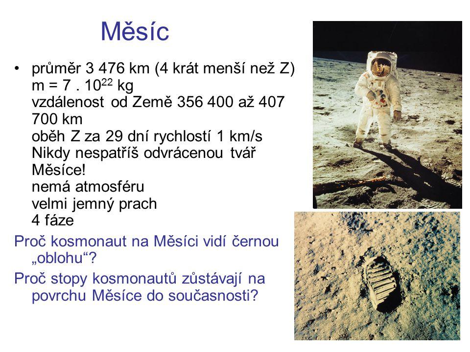 Měsíc průměr 3 476 km (4 krát menší než Z) m = 7. 10 22 kg vzdálenost od Země 356 400 až 407 700 km oběh Z za 29 dní rychlostí 1 km/s Nikdy nespatříš