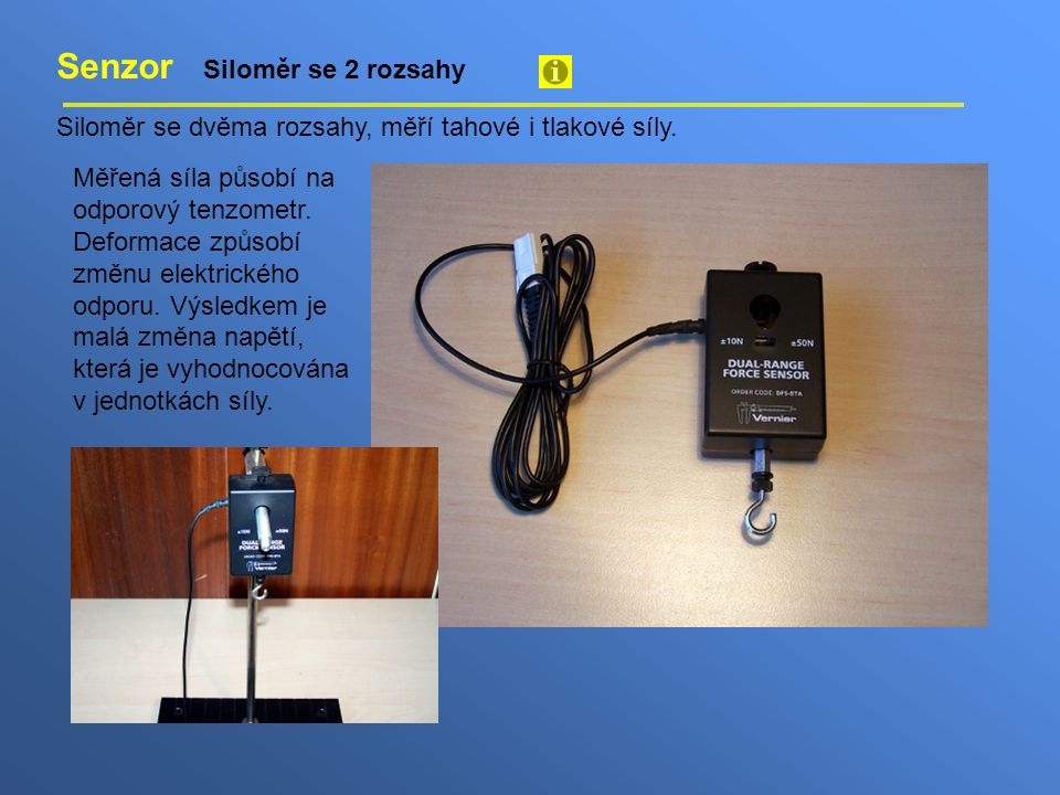 Senzor připojíme k počítači pomoci rozhraní Go!Link Rozhraní Go!Link umožňuje připojit analogové senzory k počítači přes USB rozhraní.
