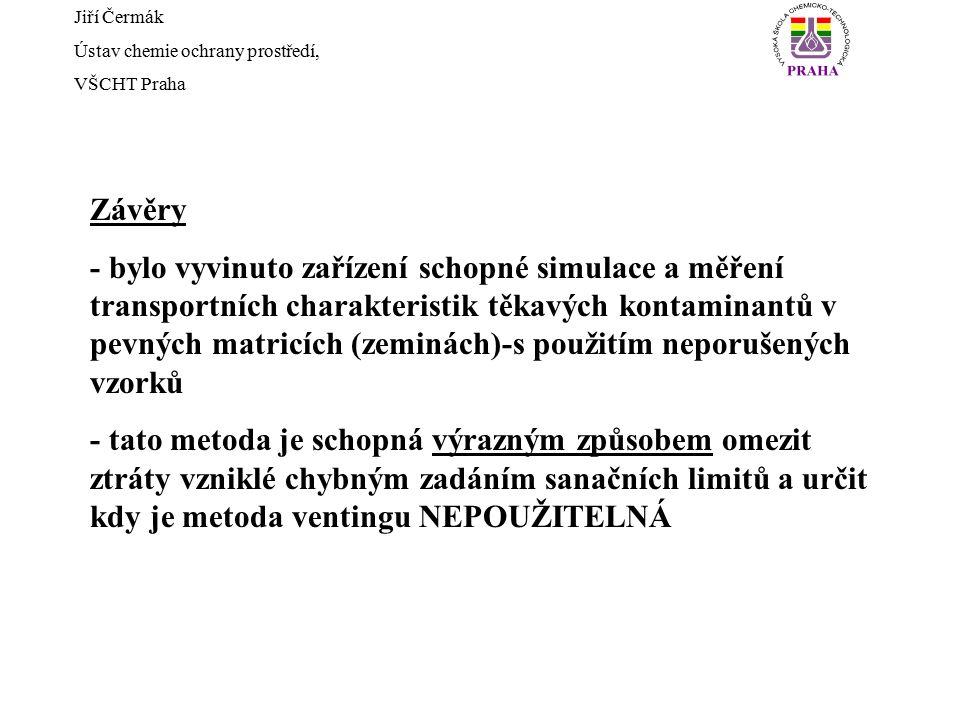 Jiří Čermák Ústav chemie ochrany prostředí, VŠCHT Praha Závěry - bylo vyvinuto zařízení schopné simulace a měření transportních charakteristik těkavýc