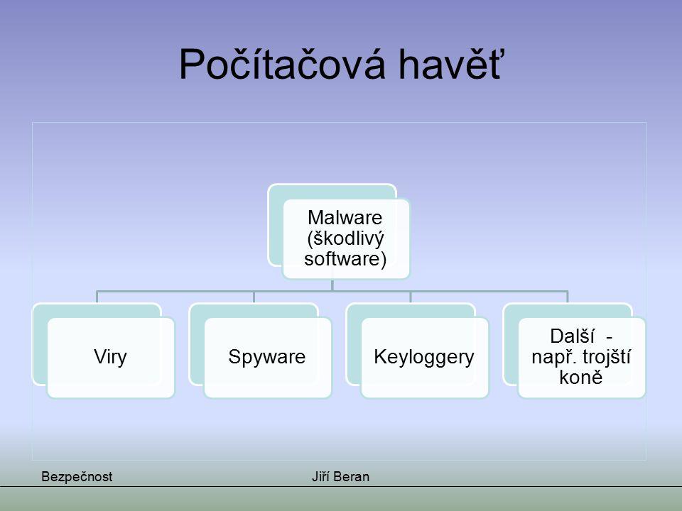 Počítačová havěť Malware (škodlivý software) VirySpywareKeyloggery Další - např. trojští koně BezpečnostJiří Beran