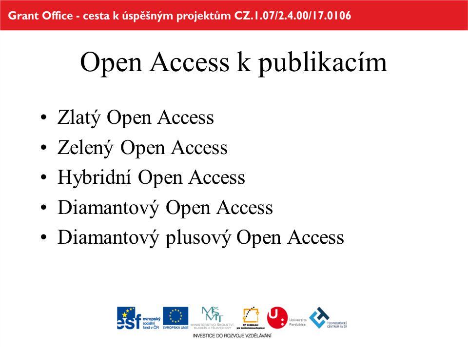 Open Access k publikacím Zlatý Open Access Zelený Open Access Hybridní Open Access Diamantový Open Access Diamantový plusový Open Access