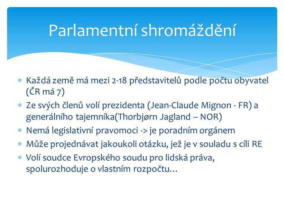  Každá země má mezi 2-18 představitelů podle počtu obyvatel (ČR má 7)  Ze svých členů volí prezidenta (Jean-Claude Mignon - FR) a generálního tajemn