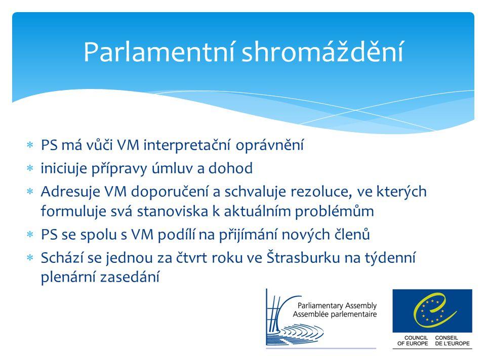  PS má vůči VM interpretační oprávnění  iniciuje přípravy úmluv a dohod  Adresuje VM doporučení a schvaluje rezoluce, ve kterých formuluje svá stan