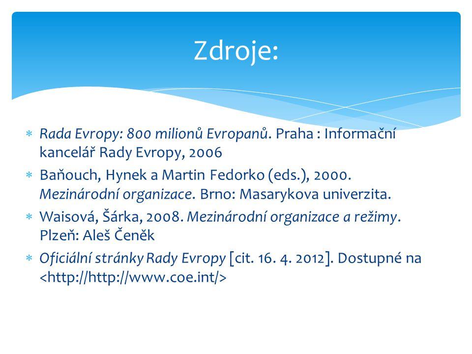  Rada Evropy: 800 milionů Evropanů. Praha : Informační kancelář Rady Evropy, 2006  Baňouch, Hynek a Martin Fedorko (eds.), 2000. Mezinárodní organiz