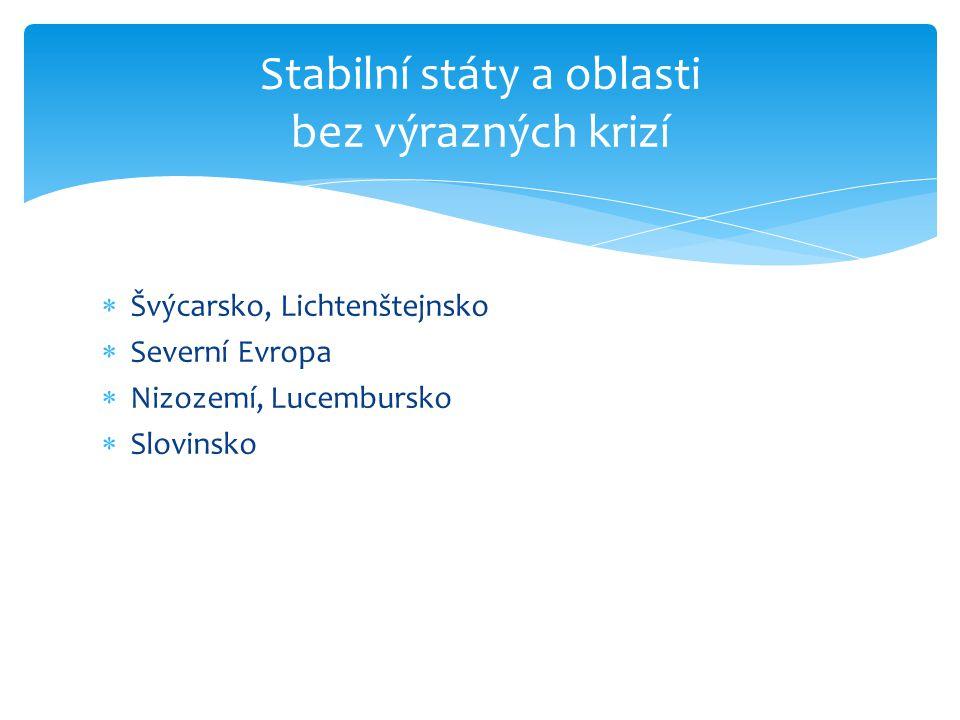 Stabilní státy a oblasti bez výrazných krizí  Švýcarsko, Lichtenštejnsko  Severní Evropa  Nizozemí, Lucembursko  Slovinsko