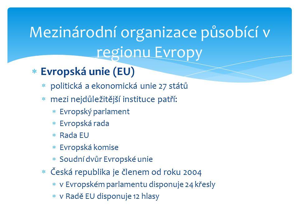 Mezinárodní organizace působící v regionu Evropy  Evropská unie (EU)  politická a ekonomická unie 27 států  mezi nejdůležitější instituce patří: 