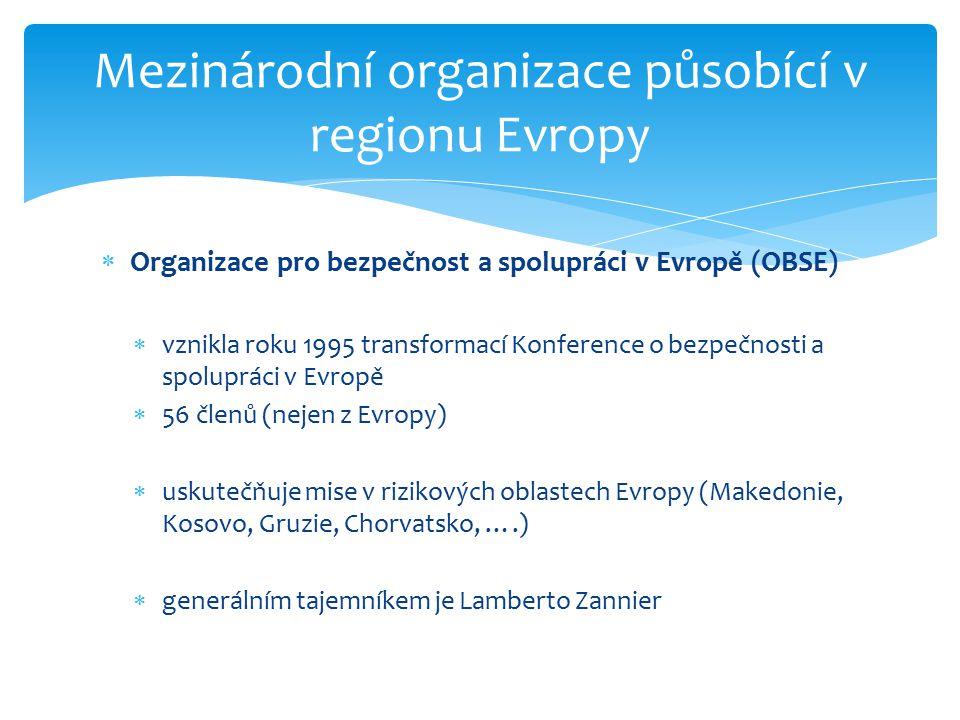 Mezinárodní organizace působící v regionu Evropy  Organizace pro bezpečnost a spolupráci v Evropě (OBSE)  vznikla roku 1995 transformací Konference