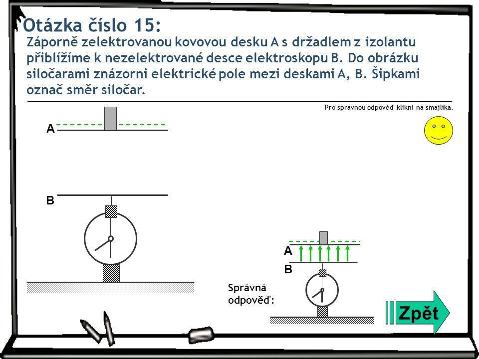 Otázka číslo 15: Záporně zelektrovanou kovovou desku A s držadlem z izolantu přiblížíme k nezelektrované desce elektroskopu B. Do obrázku siločarami z