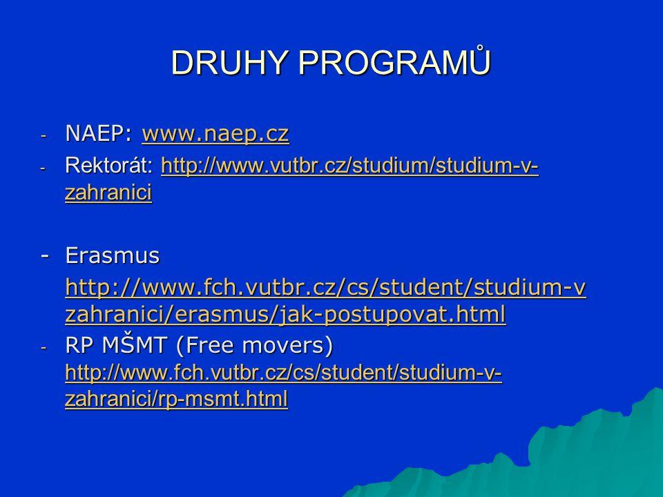 DRUHY PROGRAMŮ - NAEP: www.naep.cz www.naep.cz - Rektorát: http://www.vutbr.cz/studium/studium-v- zahranici http://www.vutbr.cz/studium/studium-v- zahranicihttp://www.vutbr.cz/studium/studium-v- zahranici -Erasmus http://www.fch.vutbr.cz/cs/student/studium-v zahranici/erasmus/jak-postupovat.html http://www.fch.vutbr.cz/cs/student/studium-v zahranici/erasmus/jak-postupovat.html - RP MŠMT (Free movers) http://www.fch.vutbr.cz/cs/student/studium-v- zahranici/rp-msmt.html http://www.fch.vutbr.cz/cs/student/studium-v- zahranici/rp-msmt.html http://www.fch.vutbr.cz/cs/student/studium-v- zahranici/rp-msmt.html
