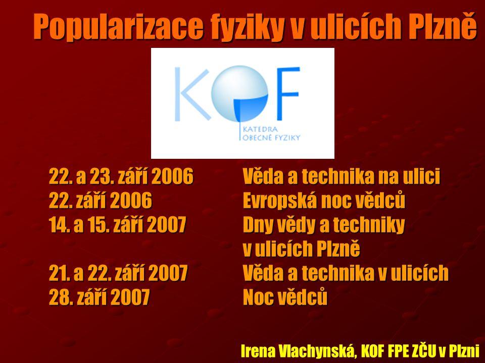Popularizace fyziky v ulicích Plzně 22. a 23. září 2006Věda a technika na ulici 22.