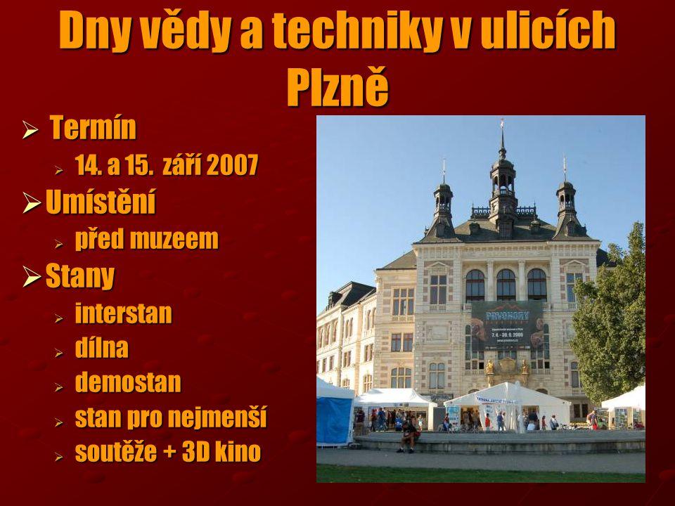  Termín  14. a 15. září 2007  Umístění  před muzeem  Stany  interstan  dílna  demostan  stan pro nejmenší  soutěže + 3D kino Dny vědy a tech