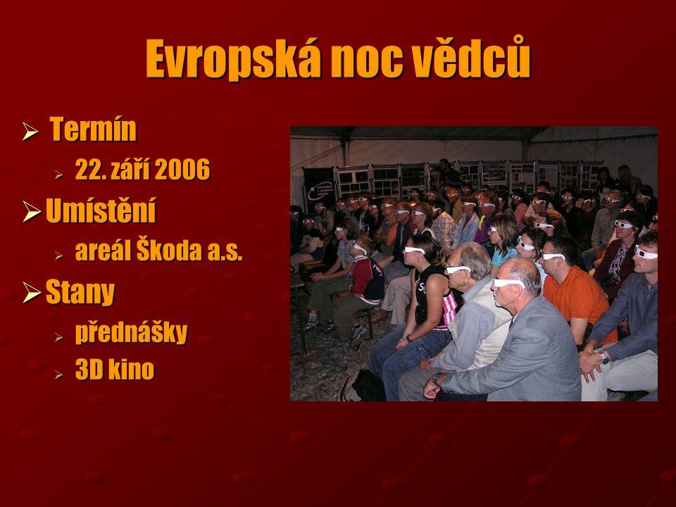  Termín  22. září 2006  Umístění  areál Škoda a.s.  Stany  přednášky  3D kino Evropská noc vědců