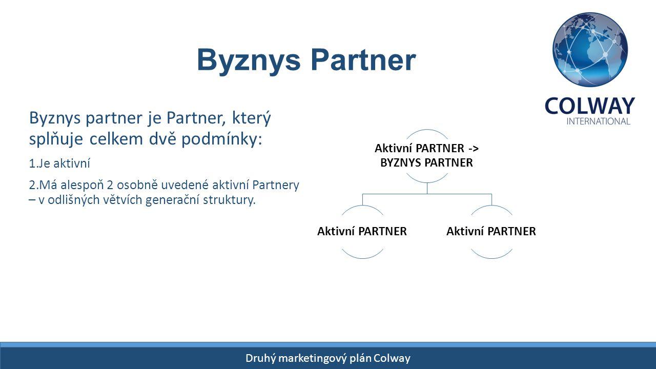 Drugi Plan Finansowy Colway START- 26 kwietnia 2015! Druhý marketingový plán Colway Byznys partner je Partner, který splňuje celkem dvě podmínky: 1.Je