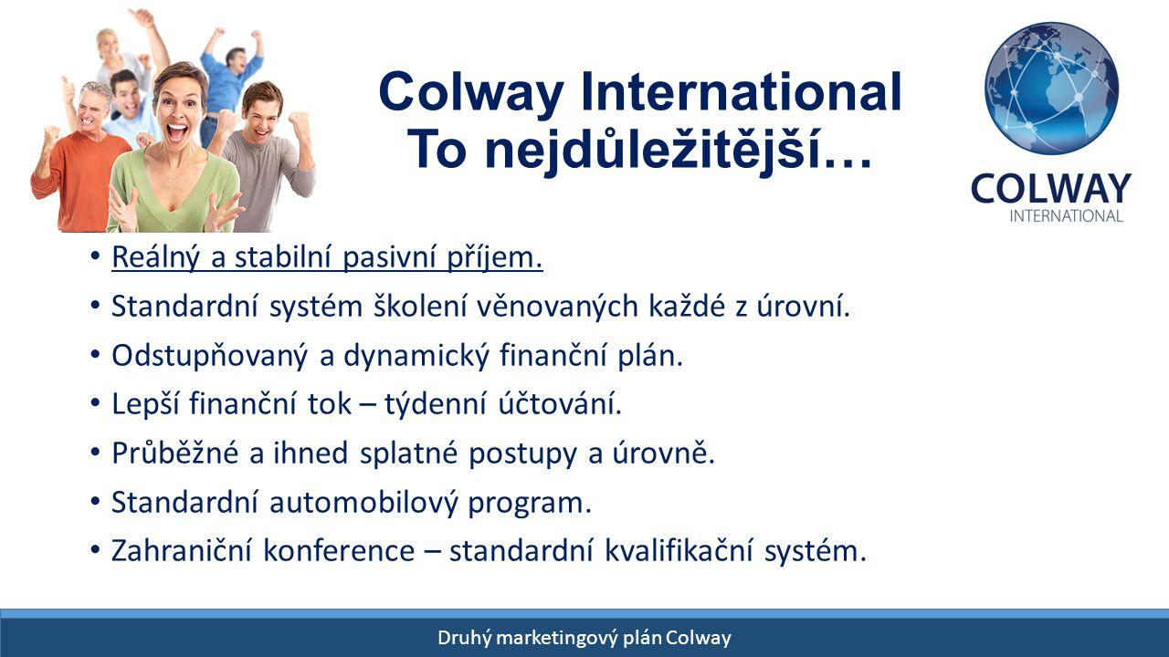 Drugi Plan Finansowy Colway START- 26 kwietnia 2015! Druhý marketingový plán Colway Colway International To nejdůležitější… Reálný a stabilní pasivní