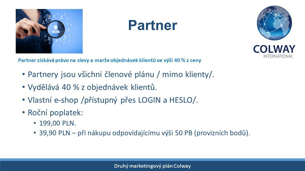 Druhý marketingový plán Colway Partner Partnery jsou všichni členové plánu / mimo klienty/. Vydělává 40 % z objednávek klientů. Vlastní e-shop /přístu