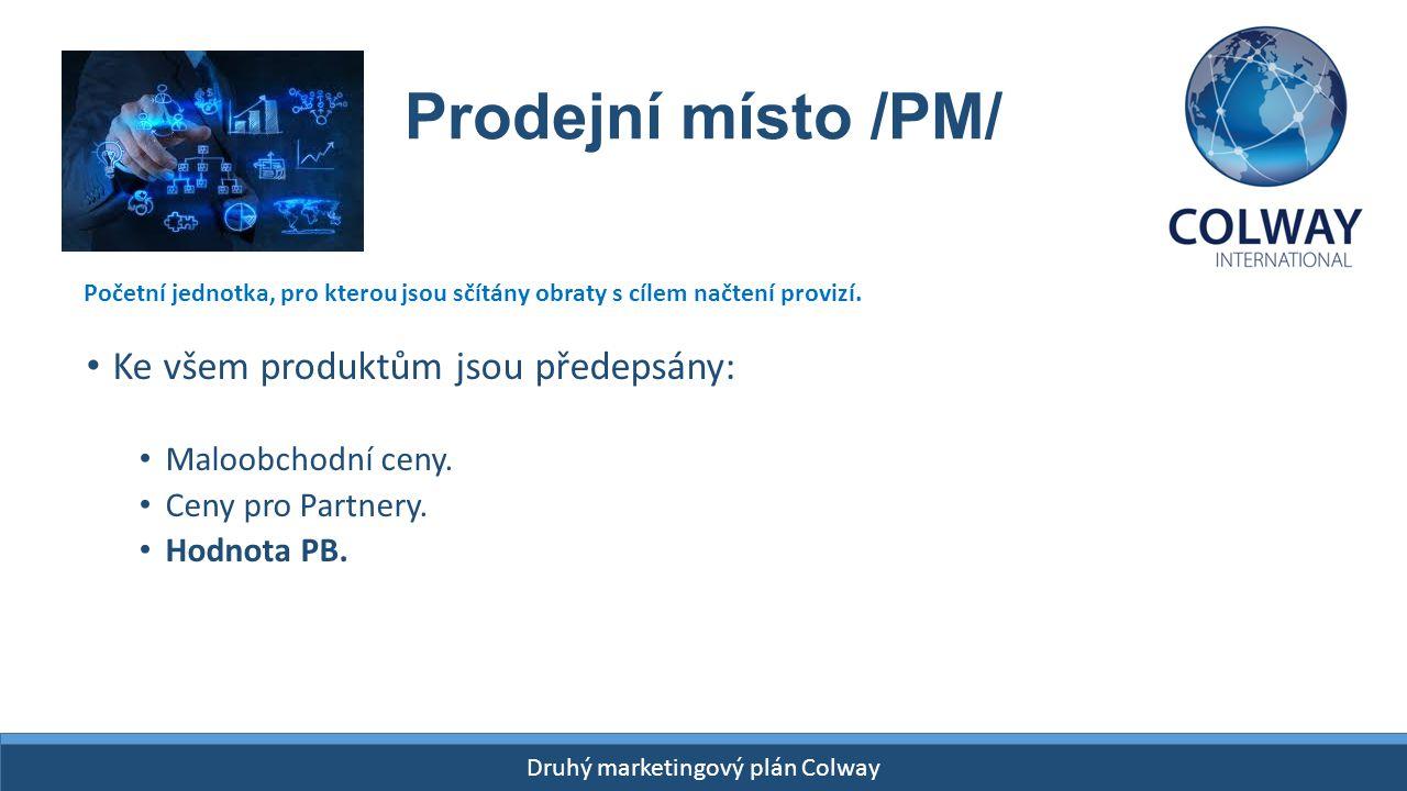 Drugi Plan Finansowy Colway START- 26 kwietnia 2015! Druhý marketingový plán Colway Prodejní místo /PM/ Ke všem produktům jsou předepsány: Maloobchodn