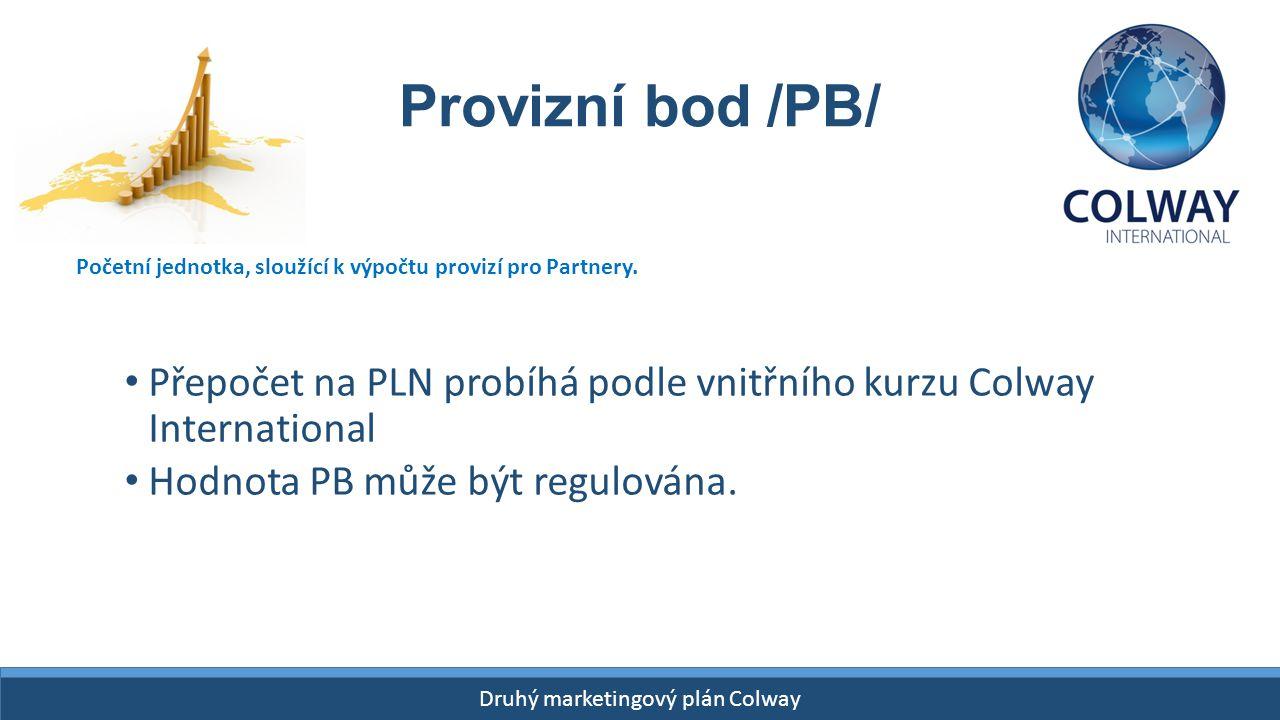 START- 26 kwietnia 2015! Druhý marketingový plán Colway Provizní bod /PB/ Přepočet na PLN probíhá podle vnitřního kurzu Colway International Hodnota P