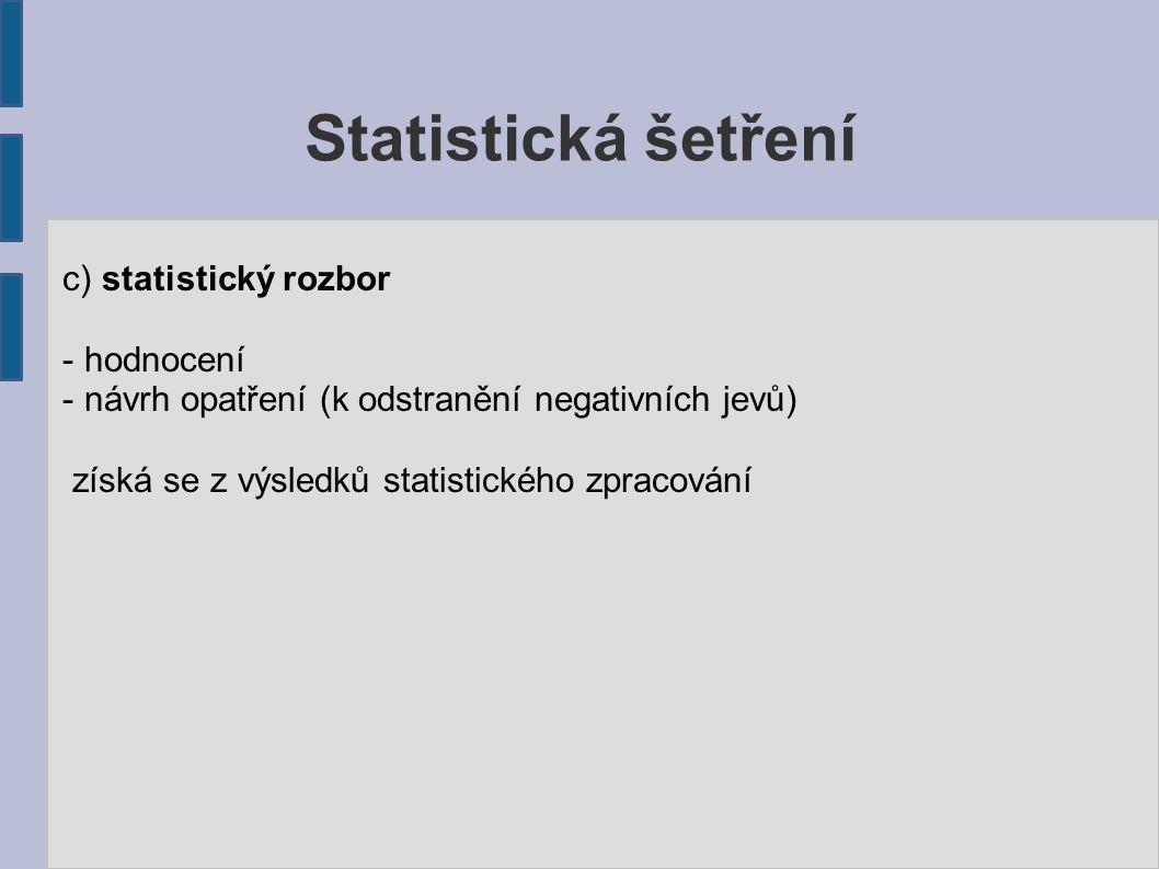 Statistická šetření c) statistický rozbor - hodnocení - návrh opatření (k odstranění negativních jevů) získá se z výsledků statistického zpracování