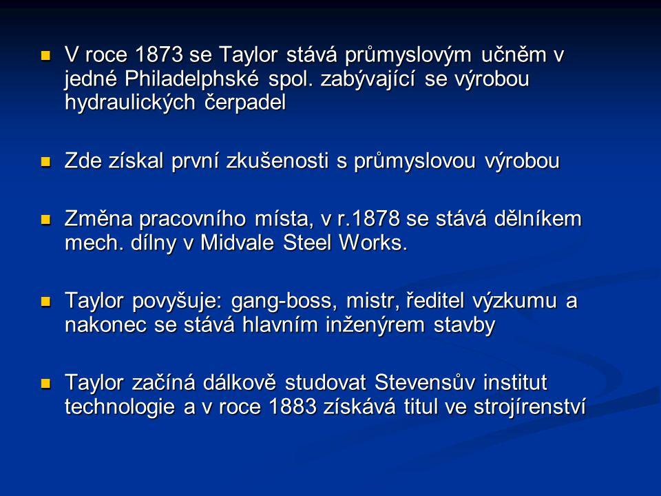 V roce 1873 se Taylor stává průmyslovým učněm v jedné Philadelphské spol. zabývající se výrobou hydraulických čerpadel V roce 1873 se Taylor stává prů