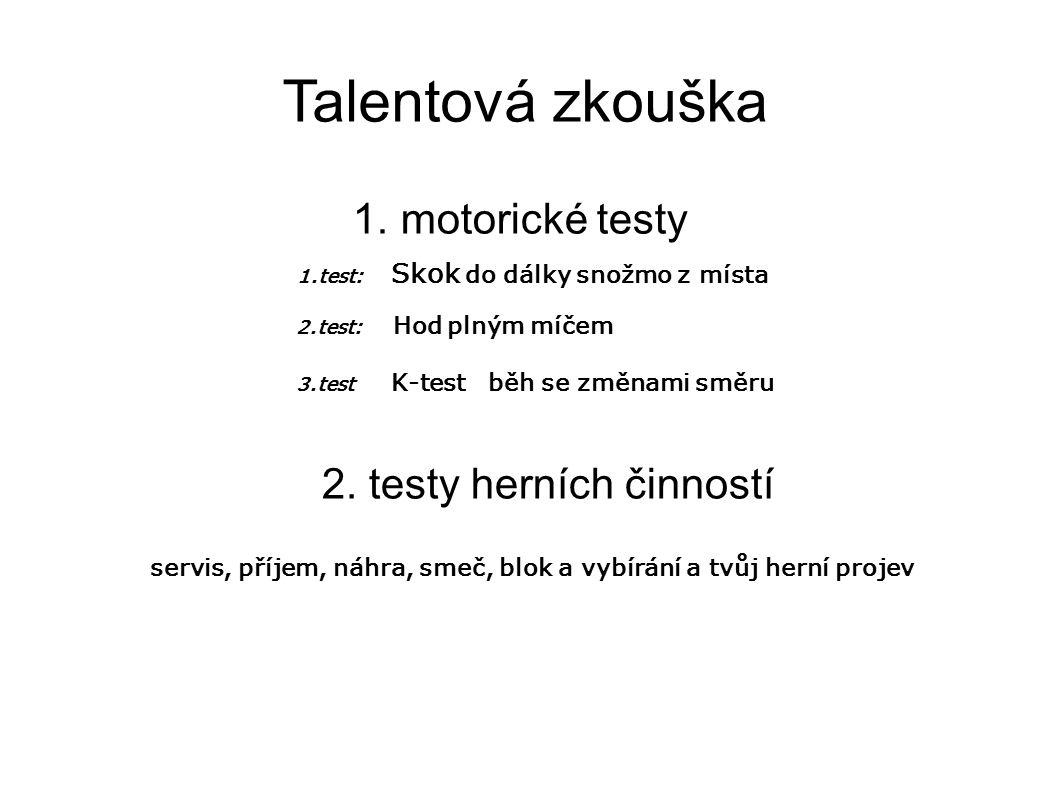 Talentová zkouška 1. motorické testy 1.test: Skok do dálky snožmo z místa 2.test: Hod plným míčem 3.test K-test běh se změnami směru 2. testy herních