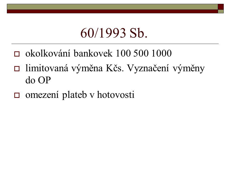 60/1993 Sb.  okolkování bankovek 100 500 1000  limitovaná výměna Kčs. Vyznačení výměny do OP  omezení plateb v hotovosti