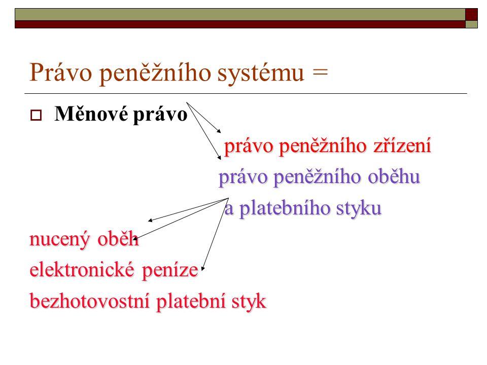 Právo peněžního systému =  Měnové právo právo peněžního zřízení právo peněžního oběhu a platebního styku nucený oběh elektronické peníze bezhotovostn