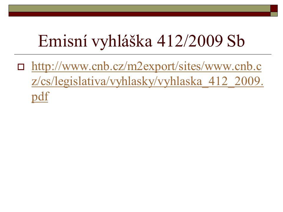 Emisní vyhláška 412/2009 Sb  http://www.cnb.cz/m2export/sites/www.cnb.c z/cs/legislativa/vyhlasky/vyhlaska_412_2009. pdf http://www.cnb.cz/m2export/s