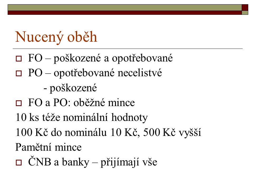 Nucený oběh  FO – poškozené a opotřebované  PO – opotřebované necelistvé - poškozené  FO a PO: oběžné mince 10 ks téže nominální hodnoty 100 Kč do