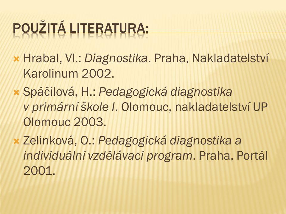  Hrabal, Vl.: Diagnostika.Praha, Nakladatelství Karolinum 2002.