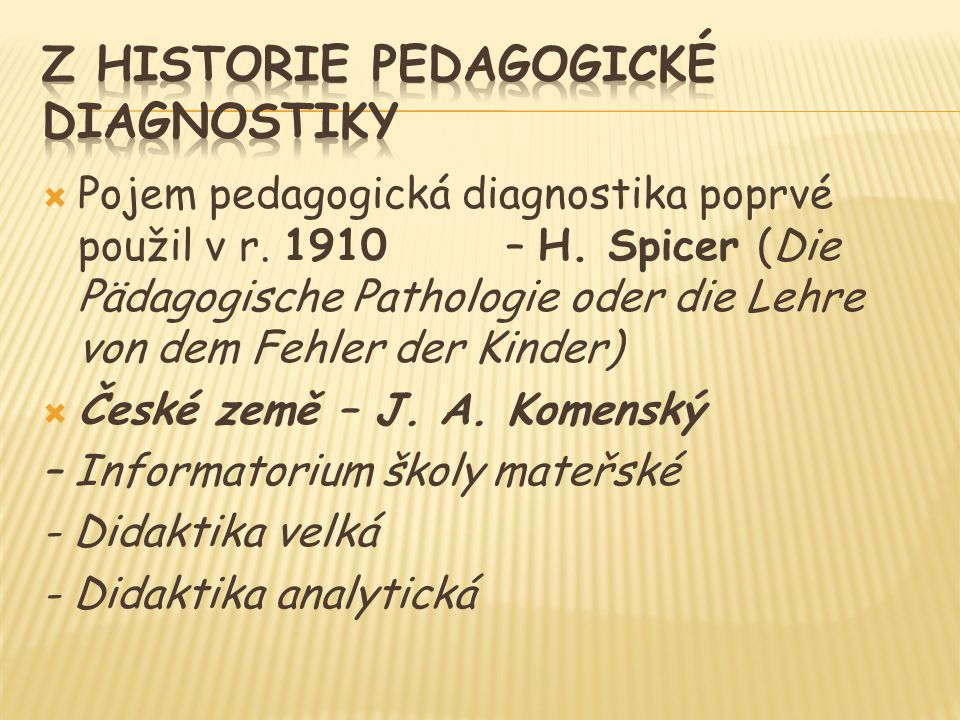  Pojem pedagogická diagnostika poprvé použil v r.