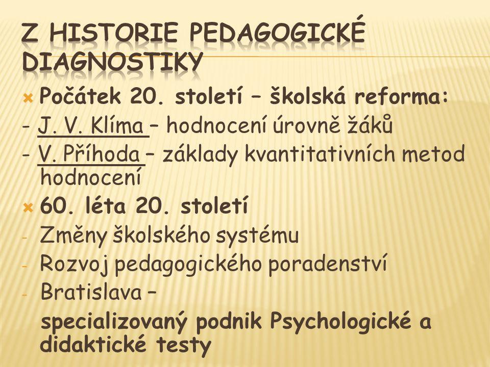  Počátek 20.století – školská reforma: - J. V. Klíma – hodnocení úrovně žáků - V.