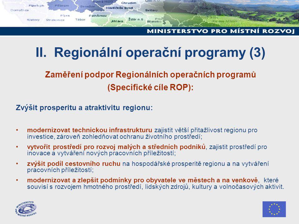 II. Regionální operační programy (3) Zaměření podpor Regionálních operačních programů (Specifické cíle ROP): Zvýšit prosperitu a atraktivitu regionu: