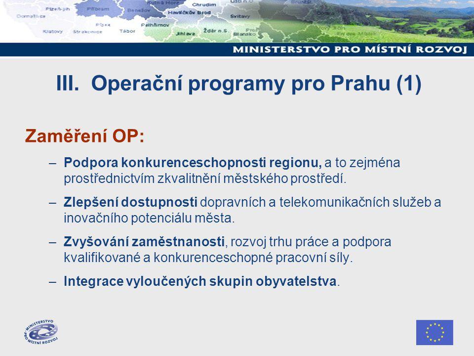 III. Operační programy pro Prahu (1) Zaměření OP: –Podpora konkurenceschopnosti regionu, a to zejména prostřednictvím zkvalitnění městského prostředí.