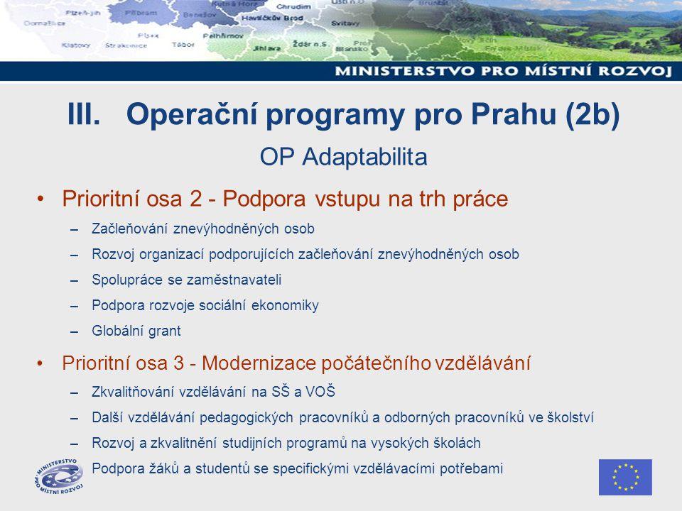 III. Operační programy pro Prahu (2b) OP Adaptabilita Prioritní osa 2 - Podpora vstupu na trh práce –Začleňování znevýhodněných osob –Rozvoj organizac